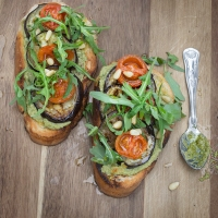 Aubergine and Cherry Tomato Bruschetta with Green Olive Tapenade