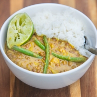 15 Minute Thai Lentils with Green Beans and Coconut Rice