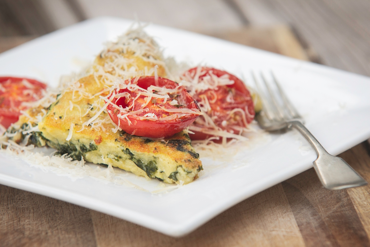 Creamy Kale Polenta with Roasted Tomatoes