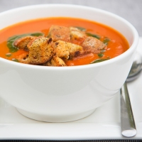 Sweet Pepper & Tomato Soup with Ciabatta Croutons and Basil Oil