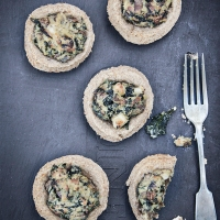 Whole Wheat Mushroom and Kale Tartlets