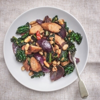 Vegan Sausages with Kale and Beans