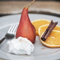 Mulled Pears with Vegan Whipped Cream