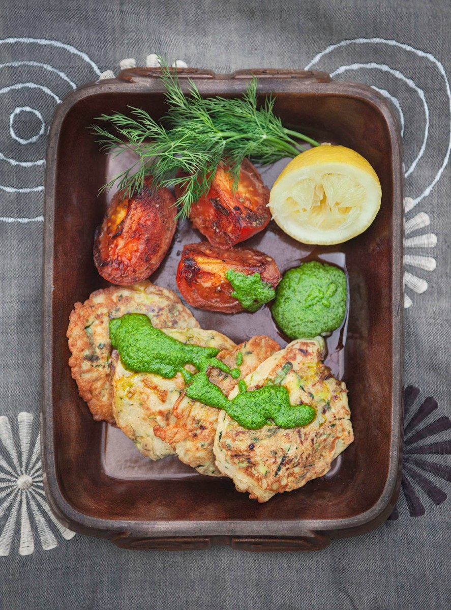 Courgette Fritters with Basil and Dill Dressing
