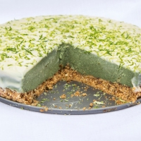 No Bake Lime and Spirulina Cheesecake