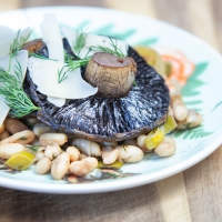 Roast Portobello Mushrooms with Cannellini Beans